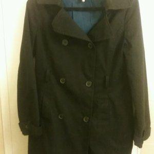 100% Cotton Black Trench Coat